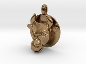 BULL Jewelry Head Design Zodiac Pendant in Natural Brass