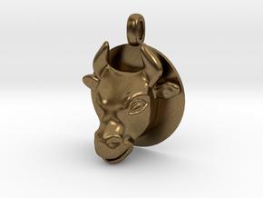 BULL Jewelry Head Design Zodiac Pendant in Natural Bronze