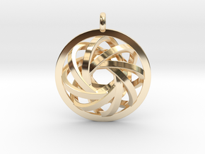 ATOM CORE Designer Jewelry Pendant in 14k Gold Plated Brass