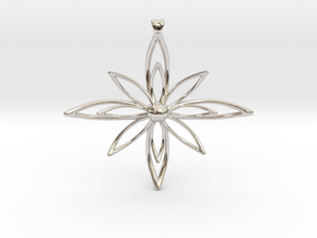 PETALIS Flower Petals design pendant in Rhodium Plated Brass