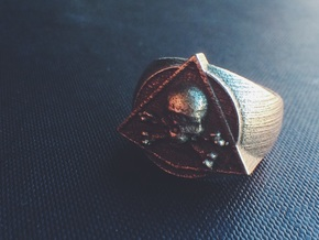 Saint Vitus Ring Size 14 in Polished Bronzed Silver Steel