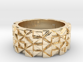 Futuristic Ring Size 4.5 in 14k Gold Plated Brass