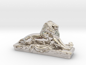 Lion sculpture  in Rhodium Plated Brass