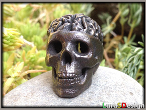 Brain Skull Pendant in Polished Bronzed Silver Steel