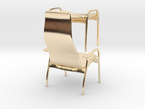 Lamino Style Chair & Stool 1/12 Scale in 14k Gold Plated Brass