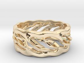 Earth Weave Ring (select a size) in 14k Gold Plated Brass
