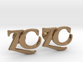 Monogram Cufflinks ZC in Natural Brass