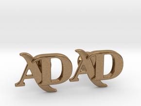 Monogram Cufflinks AD in Natural Brass