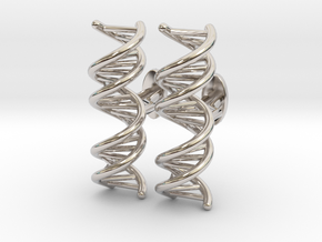 DNA Cufflink in Rhodium Plated Brass