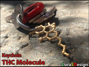 THC Molecule Keychain in Polished Bronzed Silver Steel