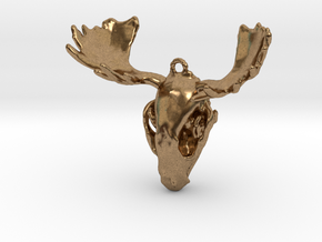 Raccoon Moose Skull Pendant in Natural Brass
