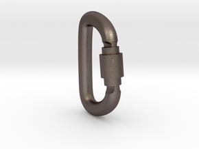 Carabiner Pendant (Large) in Polished Bronzed Silver Steel