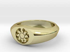 MTG Plains Mana Ring (Size 11) in 18k Gold Plated Brass