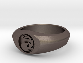 MTG Mountain Mana Ring (Size 11) in Polished Bronzed Silver Steel