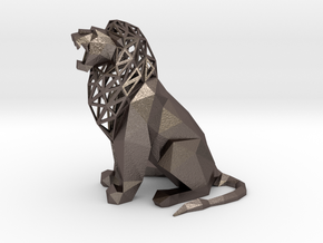 Roaring Lion in Polished Bronzed Silver Steel