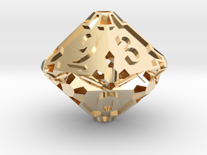 Large Premier d10 in 14k Gold Plated Brass