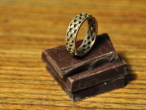 Thin parquet deformation ring (57mm) in Polished Bronzed Silver Steel