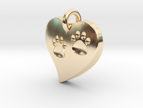 Pet Paw In Heart B in 14K Yellow Gold
