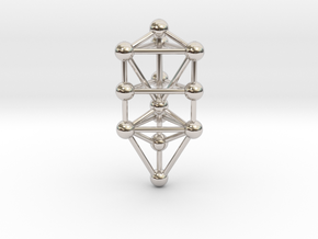 Small Triangular Tree of Life Pendant (no bail) in Rhodium Plated Brass