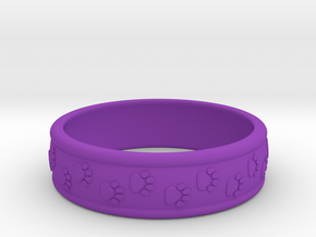 Size 8 Pet Paw Ring A  in Purple Processed Versatile Plastic
