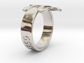 PI Ring Size6 in Rhodium Plated Brass