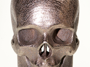 Human skull with Ring  3.4 cm in White Natural Versatile Plastic