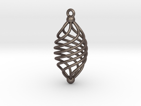 EARRING TWISTED in Polished Bronzed Silver Steel