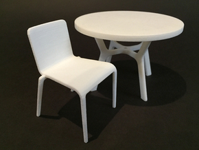 Plastic Stacking Chair 1:12 scale in White Natural Versatile Plastic
