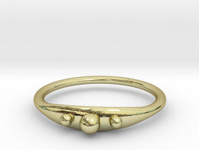 Ring with beads, thin backside in 18k Gold Plated Brass
