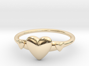 Ring with Hearts, thin backside in 14K Yellow Gold