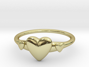 Ring with Hearts, thin backside in 18k Gold Plated Brass