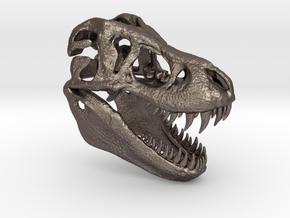Tyrannosaurus Dinosaur Skull - T-Rex in Polished Bronzed Silver Steel
