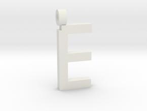 Letter E Necklace in White Natural Versatile Plastic