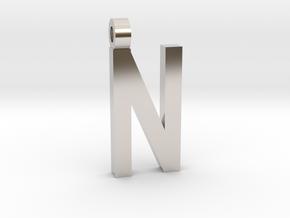 Letter N Necklace in Platinum