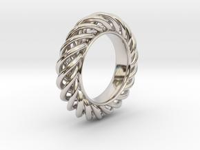 Spiral Ring Size 7 in Rhodium Plated Brass