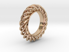 Spiral Ring Size 7 in 14k Rose Gold Plated Brass