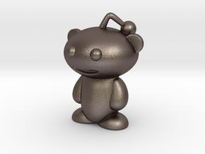 Tiny Snoo, Reddit Alien in Polished Bronzed Silver Steel
