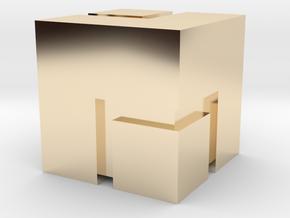 (FEZ) Mini Cube 2x2 in 14K Yellow Gold