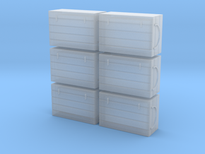O 6 Fish Crates in Smooth Fine Detail Plastic