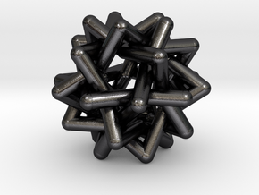 Six Tangled Stars in Polished and Bronzed Black Steel