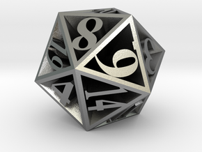 20 Sided Die in Natural Silver