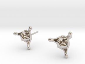 LoveSplashStudEarrings in Rhodium Plated Brass