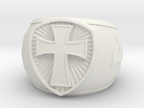 Cross Ring size 14 in White Natural Versatile Plastic