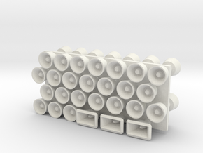 1:48 scale Loud Hailers/Speakers in White Natural Versatile Plastic