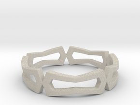 Distorted rectangle pattern Ring Size 10 in Natural Sandstone