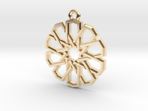 """Ten-Pointed Star"" Pendant, Cast Metal in 14k Gold Plated Brass"