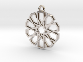 """Ten-Pointed Star"" Pendant, Cast Metal in Rhodium Plated Brass"