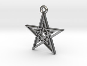 """Double Pentagram"" Pendant, Cast Metal in Natural Silver"