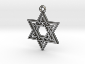 """Double Hexagram"" Pendant, Cast Metal in Raw Silver"