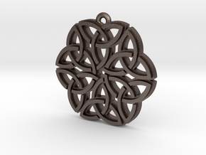 """Triquetra Ornament"" Pendant, Printed Metal in Polished Bronzed Silver Steel"